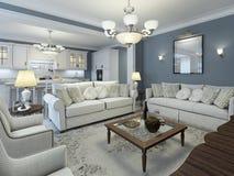 Estilo mediterrâneo da sala da sala de estar Foto de Stock
