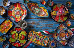 Estilo mexicano de Talavera da cerâmica de México fotografia de stock royalty free