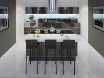 Estilo minimalista da sala de jantar da cozinha Imagens de Stock