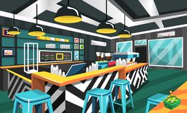 Estilo moderno da cafetaria com tabela futurista, máquina elétrica do fabricante de café, lâmpadas do teto, arte da imagem para o ilustração stock
