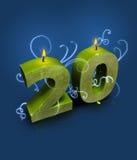 Estilo moderno número 20 com flamas de vela Imagens de Stock