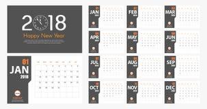 Estilo moderno simples do calendário do ano 2018 novo Cinza e laranja Foto de Stock Royalty Free
