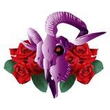Estilo moderno y rosas del cráneo de la cabra Fotografía de archivo