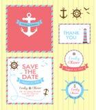 Estilo náutico do cartão do convite do casamento Fotos de Stock Royalty Free