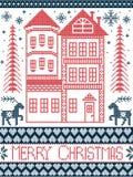 Estilo nórdico do Feliz Natal e inspirado pela ilustração escandinava do teste padrão do Natal no ponto transversal Fotos de Stock