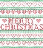 Estilo nórdico do Feliz Natal e inspirado pelo teste padrão sem emenda do Natal do ofício transversal escandinavo do ponto em ver Imagens de Stock Royalty Free