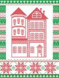 Estilo nórdico do inverno e inspirado pela ilustração escandinava do teste padrão do Natal no ponto transversal que inclui a casa Fotos de Stock Royalty Free