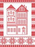 Estilo nórdico do inverno e inspirado pela ilustração escandinava do teste padrão do Natal no ponto transversal que inclui a casa Imagem de Stock