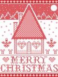 Estilo nórdico e inspirado pela ilustração escandinava do teste padrão do Natal no ponto transversal com casa de pão-de-espécie Imagens de Stock Royalty Free