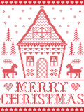 Estilo nórdico e inspirado pela ilustração escandinava do teste padrão do Natal no ponto transversal em vermelho e em branco, cas Fotografia de Stock Royalty Free