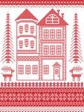 Estilo nórdico e inspirado pela ilustração escandinava do teste padrão do Natal no ponto transversal, casa de pão-de-espécie alta Imagens de Stock Royalty Free