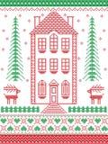 Estilo nórdico e inspirado pela ilustração escandinava do teste padrão do Natal no ponto transversal com casa de pão-de-espécie,  Imagens de Stock