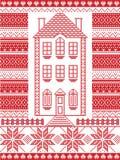 Estilo nórdico e inspirado pela ilustração escandinava do teste padrão do Natal no ponto transversal em vermelho e em branco com  Fotografia de Stock