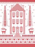 Estilo nórdico e inspirado pela ilustração escandinava do teste padrão do Natal no ponto transversal em vermelho e em branco com  Foto de Stock