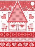 Estilo nórdico, inspirado pela ilustração escandinava do teste padrão do Natal no ponto transversal, casa de pão-de-espécie, rena Fotografia de Stock Royalty Free