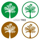 Estilo negativo do espaço do molde do vetor do projeto do sumário do logotipo da árvore Ícone orgânico do conceito do Logotype da ilustração stock