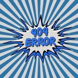Estilo no encontrado del arte pop de la página del error 404 cómico Imagen de archivo