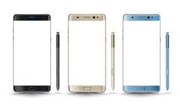 Estilo novo perfeitamente detalhado da nota 7 da galáxia dos smartphones ilustração stock