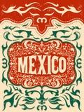 Estilo ocidental de México, cartão mexicano do cartaz do vetor do tema, grupo de elementos Fotos de Stock