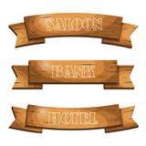 Estilo ocidental dos desenhos animados que pendura pranchas de madeira das bandeiras dos quadros indicadores Fotografia de Stock Royalty Free