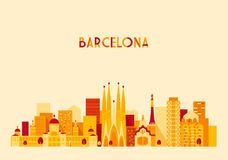 Estilo plano de la ciudad de Barcelona España del vector grande del horizonte Fotografía de archivo libre de regalías