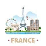 Estilo plano de la historieta de la plantilla del diseño del país de Francia