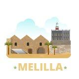 Estilo plano de la historieta de la plantilla del diseño del país de Melilla Foto de archivo