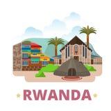 Estilo plano de la historieta de la plantilla del diseño del país de Rwanda Foto de archivo