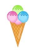 Estilo plano de la historieta del icono del cono de helado Aislado en el fondo blanco Ejemplo del vector, clip art stock de ilustración