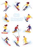Estilo plano de la historieta de los esquiadores y de los snowboarders del vector Hombres y mujeres en la estación de esquí Activ stock de ilustración