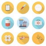 Estilo plano de la medicina con el sistema largo de los iconos de los ejemplos de las sombras, de la atención sanitaria y de la m fotografía de archivo libre de regalías