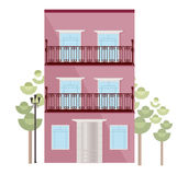 Estilo plano de los ejemplos del vector del edificio de la fachada de la arquitectura Imágenes de archivo libres de regalías