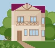 Estilo plano de los ejemplos del vector del edificio de la fachada de la arquitectura Fotografía de archivo libre de regalías