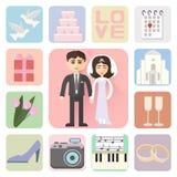 Estilo plano de los iconos de la boda Fotografía de archivo libre de regalías