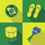 Estilo plano de los iconos del fútbol del fútbol del Brasil Fotografía de archivo