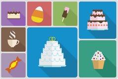 Estilo plano de los iconos determinados dulces de la comida imagenes de archivo