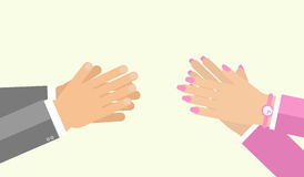 Estilo plano del aplauso de la mano Imagenes de archivo