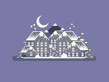 Estilo plano del backgroundin de la noche del paisaje de la Navidad del pueblo del invierno imágenes de archivo libres de regalías