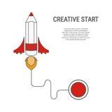 Estilo plano del cohete del lápiz Concepto creativo del comienzo Fotografía de archivo libre de regalías
