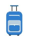 Estilo plano del icono de la maleta del viaje En las ruedas El equipaje aisló un fondo blanco Ilustración del vector Fotos de archivo