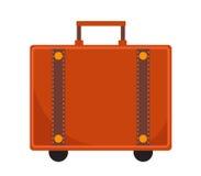 Estilo plano del icono de la maleta del viaje Obra clásica con una manija Equipaje aislado en el fondo blanco Ilustración del vec Imágenes de archivo libres de regalías