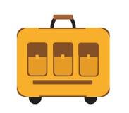 Estilo plano del icono de la maleta del viaje Obra clásica con una manija Equipaje aislado en el fondo blanco Ilustración del vec Fotos de archivo