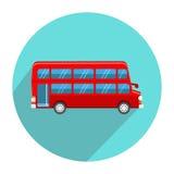 Estilo plano del icono doble de Decker Red Bus stock de ilustración