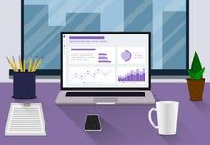 Estilo plano del lugar de trabajo E Ilustración del vector stock de ilustración