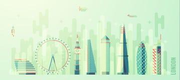 Estilo plano del vector del horizonte de la ciudad de Londres Inglaterra stock de ilustración