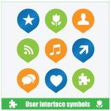 Estilo plano del web de los símbolos de la interfaz de usuario Imagen de archivo