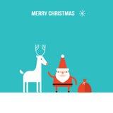Estilo plano moderno del diseño de los ciervos lindos de Santa Claus y de la Navidad Foto de archivo