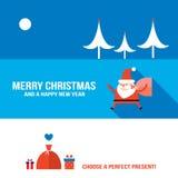 Estilo plano moderno determinado de la bandera de la Navidad y del Año Nuevo Fotos de archivo libres de regalías
