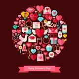 Estilo plano Valentine Day Objects Concept feliz del vector Fotografía de archivo libre de regalías