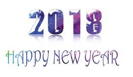 Estilo poligonal colorido do origâmi do ano novo feliz 2018 Foto de Stock Royalty Free